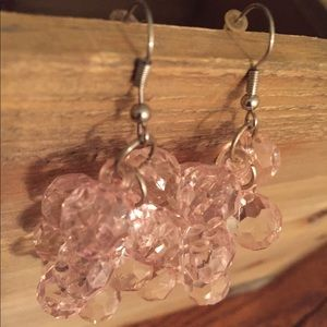 Handcrafted pink bead cluster dangle earrings
